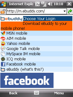 Facebook on eBuddy